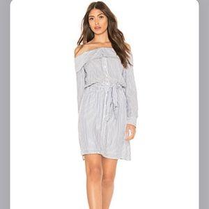 Striped off the shoulder Bardot dress